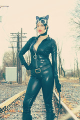 Catwoman (VictoriaCosplay) Tags: railroad leather cosplay batman latex dccomics bodysuit catwoman annehathaway cosplaygirl victoriacosplay arkhamcity darkknightrises wwwvictoriacosplaycom traintrackswhip