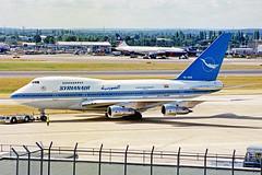 YK-AHA Boeing 747SP-94 SyrianAir (Syrian Arab Airlines) LHR 15AUG00 (Ken Fielding) Tags: ykaha boeing b747sp94 syrianair syrianarabairlines aircraft airplane airliner jet jetliner jumbojet widebody