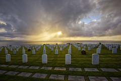 Sunset of the Fallen (x-ray tech) Tags: ocean california sunset sea sky sun water cemetery grave graveyard clouds photoshop soldier army high marine exposure surf waves dynamic pacific sandiego wind military air headstone tripod navy honor adobe fallen hero gravestone sailor airforce range hdr forces armed pointloma photomatix bracketed americasfinestcity cs5 mygearandme