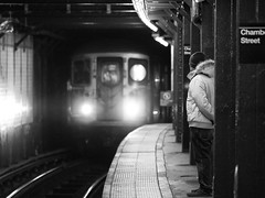 Out of the Dark (bradmo) Tags: street nyc newyorkcity blackandwhite bw newyork subway manhattan olympus mta om zuiko 135mm ep2 chambersst