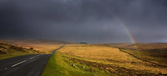 Nature's car wash (snowyturner) Tags: road autumn grass rain shower rainbow driving devon dartmoor moorland yelverton princetown b3212 walkhamptoncommon
