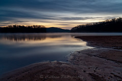 Silent Morning (John Cothron) Tags: longexposure autumn sky usa cloud mist reflection fall nature sunrise 35mm canon georgia landscape dawn twilight outdoor gainesville sunny lakeshore lakelanier lowwaterlevel hallcounty johncothron 5dmkii cothronphotography wahoocreekpark