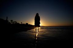 Sun Birth (Explored) (OzGFK) Tags: ocean blue sunset sky orange beach water girl spectacular bay sand aperture pretty waves australia melbourne shore watersedge bluehour seashore mccrae explored nikond90 sunbirth tokina1116mm