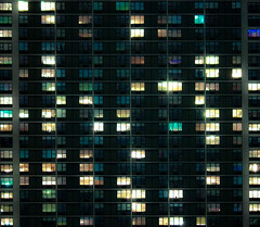 On-Off (ZBXone) Tags: new york city nyc light building window architecture night shot symetry minimalist