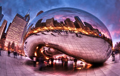 Fisheye Fever (Out Of Chicago) Tags: chicago clouds canon warped bean fisheye bluehour millenniumpark cloudgate 15mm hdr pinkclouds prudentialbuilding ghosting bej 5dmarkii