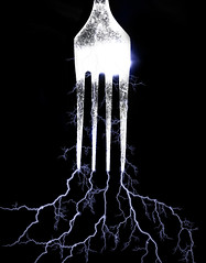 day 106 - Fork of lightning (AlexTurton) Tags: blue light storm black mobile photoshop canon dark glow phone creative fork ps creation thunderstorm lightning 365 thunder cutlery 4s prong lightroom iphone tstorm cuttlery forklightning project365 iphone4s forkoflightning