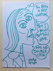 The Botox Is Not Working, But I Have Beautiful Hair And No Double Chin (spacemonkey5000) Tags: man green art beautiful beauty lines illustration ink person ugly sharpie vain botox wrinkiles spacemonkey5000