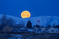 "Moon setting over Oquirrh Mountains (IronRodArt - Royce Bair (""Star Shooter"")) Tags: blue winter moon cold night rising nightscape moonrise setting moonset oquirrhmountains bacchusutah"