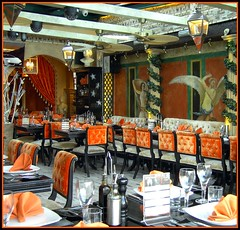 Angels! ('cosmicgirl1960' NEW CANON CAMERA) Tags: orange bar restaurant glasses spain chairs velvet angels tables bodega puertobanus serviettes