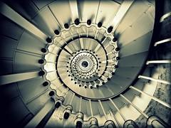 Point Hicks Lighthouse Staircase (Kaptain Kobold) Tags: blackandwhite lighthouse holiday sepia spiral nationalpark crossprocess sunday australia victoria explore staircase vignette myfave sliders marinepark hss kaptainkobold cannriver yourfave hickspoint i500 monichrome
