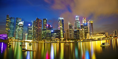 Singapore Cityscape (Kenny Teo (zoompict)) Tags: blue seascape beautiful wonderful landscape yahoo google scenery singapore cityscape skylines hour getty singaporeskylines zoompict singaporelowerpiercereservoir