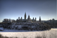 Canadian Parliament HDR (The_Milky_Way) Tags: winter ontario canada art contrast canon river rebel ottawa parliament xs hdr photomatix