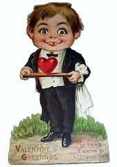 Valentine Greetings from Cannibal Alfred E. Neuman (pageofbats) Tags: heart creepy waiter cannibal serve alfredeneuman vintagevalentine weirdvalentine vilevalentine cannibalvalentine