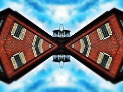 The Butterfly Effect (The Vanishing Point)   Architecture Remixed (scott_prestridge) Tags: blur building brick architecture square mirror symmetry historic wv squareformat symmetric symmetrical harpersferry normal tiltshift hafe iphoneography instagramapp uploaded:by=instagram architectureremixed