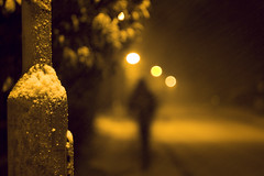 (drfugo) Tags: street snow tree night canon streetlight wind bokeh pavement path lamppost lampost blizzard helios 442 fallingsnow southeastengland helios442 450d