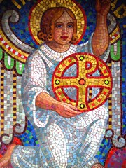 Mosaic Work of an Angel (David K. Marti) Tags: mosaic craft art angel graveyard tombstone quiet peace sacularity treasure faith religion raised rise soulocreativity1 color colorful colored colour colourful yellow red reds detail structure structural church nikon coolpix s210