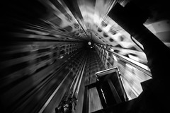 Blast off to Nowhere (DFiveRed) Tags: light brussels blackandwhite bw abstract strange d50 nikon europe industrial view belgium elevator off atomium blast shaft