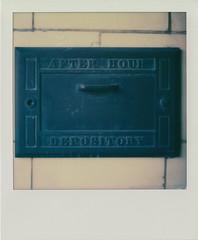 Depository (DavidVonk) Tags: door film analog vintage polaroid handle box lock bank instant vault brass slr680 patina afterhours depository impossibleproject