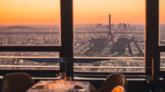 View from the Top (Enzymatic RXN) Tags: city travel sunset vacation paris tower dinner de restaurant cityscape fuji eiffel ciel le fujifilm xe1