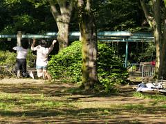 self-taking girls at old Maeda marquis house's garden (sapphire_rouge) Tags: park girls girl japan garden japanese tokyo jump shoot shibuya snap lord   mansion  schoolgirl komaba active marquis  nobleman selfie  selftaking