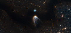 A golden veil cloaks a newborn star (europeanspaceagency) Tags: star space science nasa newborn esa hubblespacetelescope circinus iras145686304