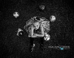 Dance and Soccer (SquawCreekPhoto) Tags: blackandwhite ballet color girl dance goal soccer soccerball tutu leotard