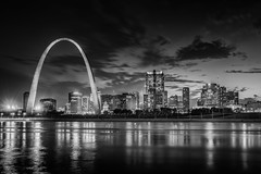 St Louis (Zouhair Lhaloui) Tags: city travel urban blackandwhite water monochrome skyline architecture night river mississippi midwest cityscape waterfront outdoor sale stlouis missouri stlouisarch cardinals 2016 noireetblanc travelphotography americancity stlouisskyline printsale stlouisarchitecture stlouiscityscape zlphotography zouhairlhaloui stlouishighrises