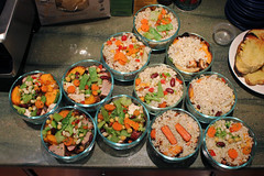 adult lunches, a dozen at a time (woodleywonderworks) Tags: school food brown chicken cooking glass work mushrooms healthy rice adult eating many bowl line safety pork once carrots mass month heating tenderloin assembly efficiency lunches img1264
