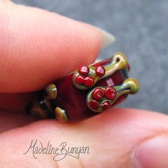 "Tan Bunny on red SIlver Cored Bead • <a style=""font-size:0.8em;"" href=""https://www.flickr.com/photos/37516896@N05/6418489393/"" target=""_blank"">View on Flickr</a>"