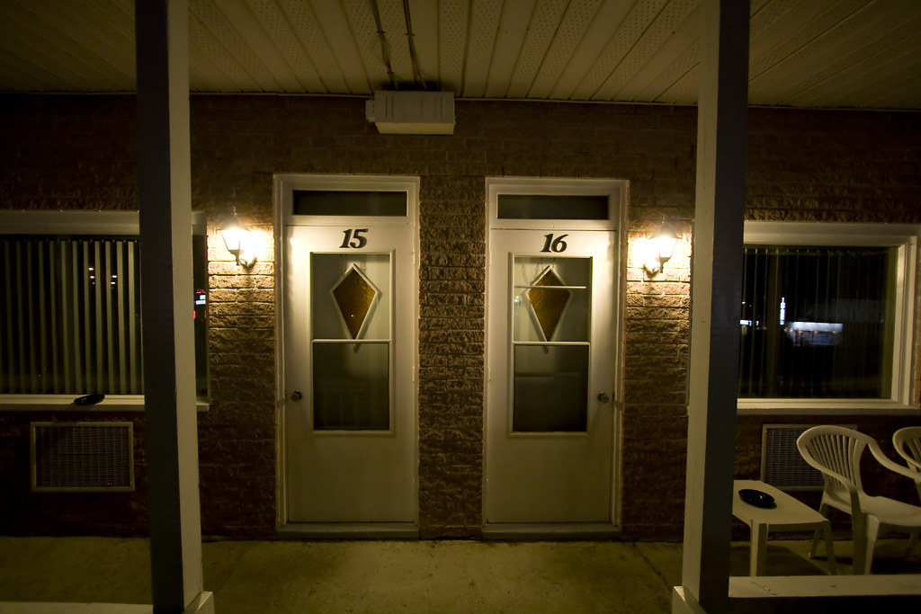 Vieux Piloteux Motel doors by night (Scalino) Tags road door autumn summer signs & The Worldu0027s most recently posted photos of door and motels - Flickr ...