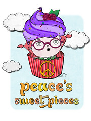 peace's sweet pieces (crosti) Tags: illustration logo dessert sketch yummy strawberry 60s yum sweet hippy company foodporn cupcake 70s drool muffin peacesign frosting draft handdrawntype crosti christinatsevis peacessweetpieces