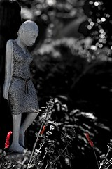 Somber Reflection (gordeau) Tags: sculpture statue dark bokeh gordon ashby selectivecolour flickrchallengegroup flickrchallengewinner thechallengefactory gordeau