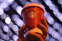 starbucks red cup ! (EmPlaystedPhotography) Tags: red cup lights bokeh starbucks