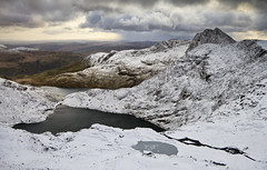 SNOWdon (Adam BStar) Tags: winter mountain lake snow cold wales track north snowdon snowdonia flakes pyg