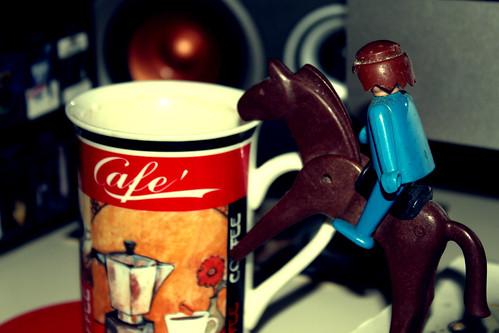 Blue rider having coffee