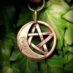The Hunters Pentacle Moon copper and Brass (leespicedragon) Tags: red moon art yellow ooak goddess jewelry copper handcrafted crow brass magical protection pentacle forged hunters pagan pendants sterlingsilver marvinleebillings