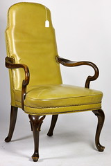 66. Queen Anne style Leather Library Chair