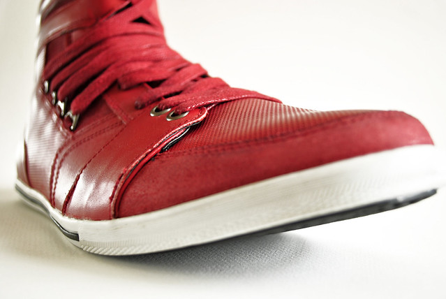 red leather shoe mens sneaker casual laces kennethcole hightop hitop whatigot