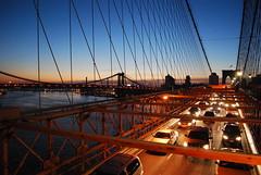 Brooklyn Bridge Traffic (NelsonGP) Tags: new york bridge brooklyn night sunrise traffic suspension manhattan cables onthebridge