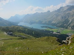 Lej da Sils (Riex) Tags: lake mountains alps station alpes landscape lago schweiz switzerland suisse lac gondola svizzera paysage engadine montagnes segl stmoritz sils graubnden grisons lej telepherique graubunden furtschellas s95 watertrail wasserweg