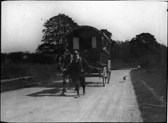 Dog following a caravan (Tyne & Wear Archives & Museums) Tags: road portrait horse countryside fairground circus lifestyle caravan pastoral picturesque cheerfull documentaryphotography archivephotograph travellingfair