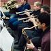 Rehearsing with trumpeters (L to R) Joseph Kaminski, Tony Gorruso, Jerry Sokolov & Shlomi Cohen on Sax.
