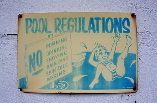 Amusing vintage pool regulations sign