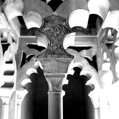 Malaga castle Spain andalucia (Broo_am (Andy B)) Tags: lighting door city white black statue wall buildings shadows  iphone        castlearch  iphonegraphy  iphoneography