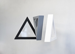 Avoidance (kdweez) Tags: wood white black art grey triangle time gray minimal plexiglas motor artstudent avoidance kcai bumping kendrawerst