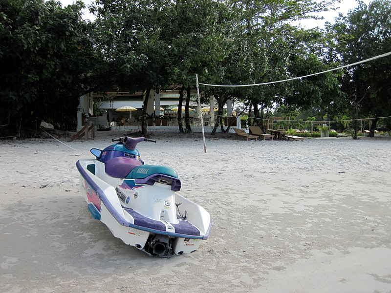 Payam Cottage Resort restaurant and their jetski. It's the only one on the island