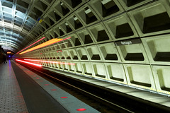 Coming and going (Rozanne Hakala) Tags: longexposure travel usa motion blur station architecture arlington train underground subway virginia dc washington districtofcolumbia blueline metro rail tunnel va transportation pentagon yellowline transitmetrorail rozannehakala