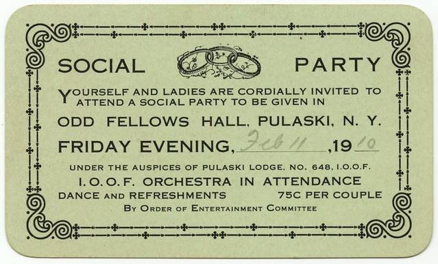 Social Party, ODD FELLOWS Hall, Pulaski, N.Y., Feb. 11, 1910