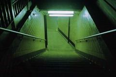 FF36:  Descent (12th St David) Tags: newyork film brooklyn subway freedom stair entrance parkslope eerie spooky 40mm grainy friday ftrain 7thavenue fail canoncanonetgiiiql17 freedomfriday fujiprovia400x canon40mmf17 failurefriday