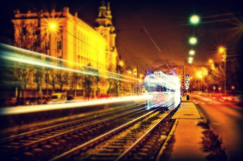 Retro tram and retro lights by AZso, on Flickr